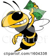 Clipart Of A Hornet Or Yellow Jacket School Mascot Character Holding Cash Money Royalty Free Vector Illustration