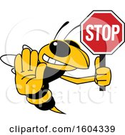 Clipart Of A Hornet Or Yellow Jacket School Mascot Character Holding A Stop Sign Royalty Free Vector Illustration