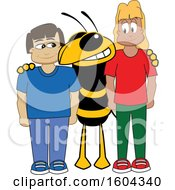 Clipart Of A Hornet Or Yellow Jacket School Mascot Character With Students Royalty Free Vector Illustration