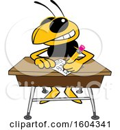 Clipart Of A Hornet Or Yellow Jacket School Mascot Character Writing At A Desk Royalty Free Vector Illustration by Toons4Biz