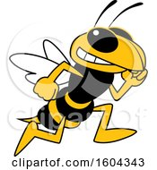 Clipart Of A Hornet Or Yellow Jacket School Mascot Character Running Royalty Free Vector Illustration by Toons4Biz