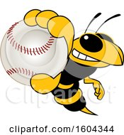 Clipart Of A Hornet Or Yellow Jacket School Mascot Character Grabbing A Baseball Royalty Free Vector Illustration by Toons4Biz