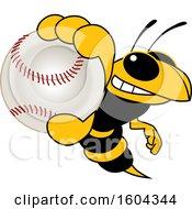 Hornet Or Yellow Jacket School Mascot Character Grabbing A Baseball