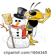 Clipart Of A Hornet Or Yellow Jacket School Mascot Character With A Christmas Snowman Royalty Free Vector Illustration