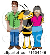 Clipart Of A Hornet Or Yellow Jacket School Mascot Character With Parents Royalty Free Vector Illustration by Toons4Biz