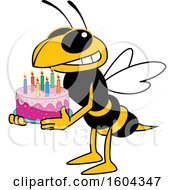 Clipart Of A Hornet Or Yellow Jacket School Mascot Character Holding A Birthday Cake Royalty Free Vector Illustration by Toons4Biz
