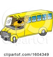 Hornet Or Yellow Jacket School Mascot Character Driving A School Bus