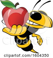 Clipart Of A Hornet Or Yellow Jacket School Mascot Character Holding An Apple Royalty Free Vector Illustration