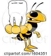 Hornet Or Yellow Jacket School Mascot Character Holding A Tooth