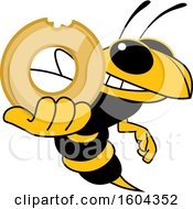 Hornet Or Yellow Jacket School Mascot Character Holding A Donut