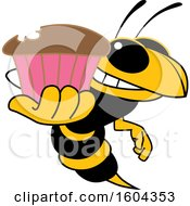 Clipart Of A Hornet Or Yellow Jacket School Mascot Character Holding A Cupcake Royalty Free Vector Illustration