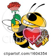 Clipart Of A Hornet Or Yellow Jacket School Mascot Character Holding A Rose And Valentines Day Candy Royalty Free Vector Illustration by Toons4Biz