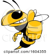 Clipart Of A Hornet Or Yellow Jacket School Mascot Character Holding A Thumb Up Royalty Free Vector Illustration by Toons4Biz
