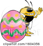 Clipart Of A Hornet Or Yellow Jacket School Mascot Character With An Easter Egg Royalty Free Vector Illustration by Toons4Biz