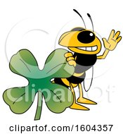 Hornet or Yellow Jacket School Mascot Character with a St Patricks Day Clover