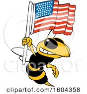 Clipart Of A Hornet Or Yellow Jacket School Mascot Character Holding An American Flag Royalty Free Vector Illustration