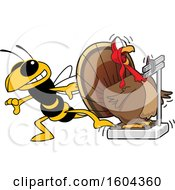 Clipart Of A Hornet Or Yellow Jacket School Mascot Character Tricking A Turkey Bird Weighing Itself Royalty Free Vector Illustration