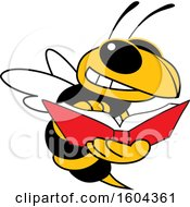 Clipart Of A Hornet Or Yellow Jacket School Mascot Character Reading A Book Royalty Free Vector Illustration by Toons4Biz