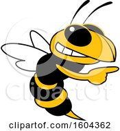 Clipart Of A Hornet Or Yellow Jacket School Mascot Character Pointing Royalty Free Vector Illustration by Toons4Biz