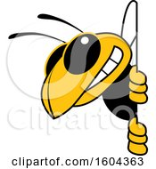 Clipart Of A Hornet Or Yellow Jacket School Mascot Character Looking Around A Sign Royalty Free Vector Illustration