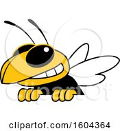 Clipart Of A Hornet Or Yellow Jacket School Mascot Character Over A Sign Royalty Free Vector Illustration by Toons4Biz