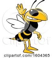 Clipart Of A Hornet Or Yellow Jacket School Mascot Character Waving Royalty Free Vector Illustration by Toons4Biz