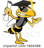 Clipart Of A Hornet Or Yellow Jacket School Mascot Character Graduate Royalty Free Vector Illustration