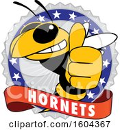 Clipart Of A Hornet School Mascot Character Giving A Thumb Up On A Badge Royalty Free Vector Illustration by Toons4Biz