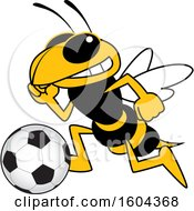 Clipart Of A Hornet Or Yellow Jacket School Mascot Character Playing Soccer Royalty Free Vector Illustration by Toons4Biz