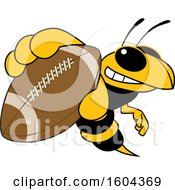 Clipart Of A Hornet Or Yellow Jacket School Mascot Character Grabbing A Football Royalty Free Vector Illustration by Toons4Biz