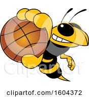 Poster, Art Print Of Hornet Or Yellow Jacket School Mascot Character Grabbing A Basketball