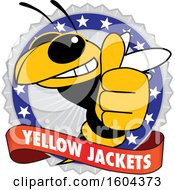 Clipart Of A Yellow Jacket School Mascot Character Giving A Thumb Up On A Badge Royalty Free Vector Illustration