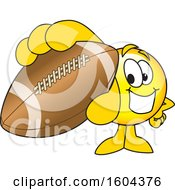 Clipart Of A Smiley Emoji School Mascot Character Grabbing A Football Royalty Free Vector Illustration