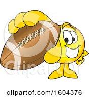 Poster, Art Print Of Smiley Emoji School Mascot Character Grabbing A Football