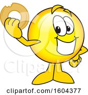 Clipart Of A Smiley Emoji School Mascot Character Holding A Donut Royalty Free Vector Illustration
