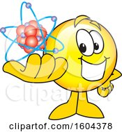 Clipart Of A Smiley Emoji School Mascot Character Holding An Atom Royalty Free Vector Illustration