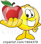 Clipart Of A Smiley Emoji School Mascot Character Holding An Apple Royalty Free Vector Illustration