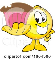 Poster, Art Print Of Smiley Emoji School Mascot Character Holding A Cupcake