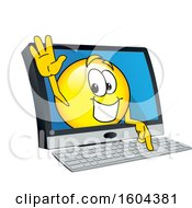 Clipart Of A Smiley Emoji School Mascot Character Emerging From A Computer Screen Royalty Free Vector Illustration