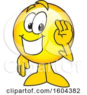 Poster, Art Print Of Smiley Emoji School Mascot Character Waving