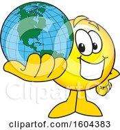Poster, Art Print Of Smiley Emoji School Mascot Character Holding A Globe