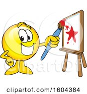 Poster, Art Print Of Smiley Emoji School Mascot Character Painting A Canvas