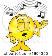Clipart Of A Smiley Emoji School Mascot Character Singing Royalty Free Vector Illustration