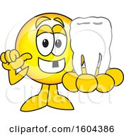 Poster, Art Print Of Smiley Emoji School Mascot Character Holding A Tooth