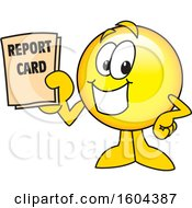 Clipart Of A Smiley Emoji School Mascot Character Holding A Report Card Royalty Free Vector Illustration