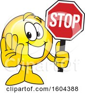 Clipart Of A Smiley Emoji School Mascot Character Holding A Stop Sign Royalty Free Vector Illustration by Toons4Biz