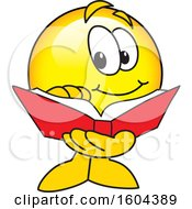 Clipart Of A Smiley Emoji School Mascot Character Reading A Book Royalty Free Vector Illustration by Toons4Biz