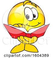 Poster, Art Print Of Smiley Emoji School Mascot Character Reading A Book