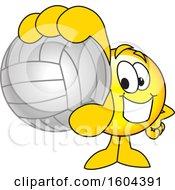 Poster, Art Print Of Smiley Emoji School Mascot Character Grabbing A Volleyball