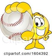 Poster, Art Print Of Smiley Emoji School Mascot Character Grabbing A Baseball
